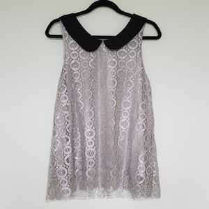 Liv lace silver shimmer sleeveless top cami large